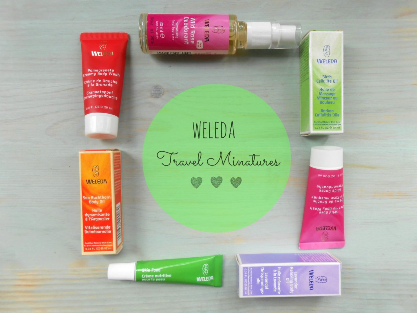 Weleda travel sizes, weleda skincare, weleda skin food