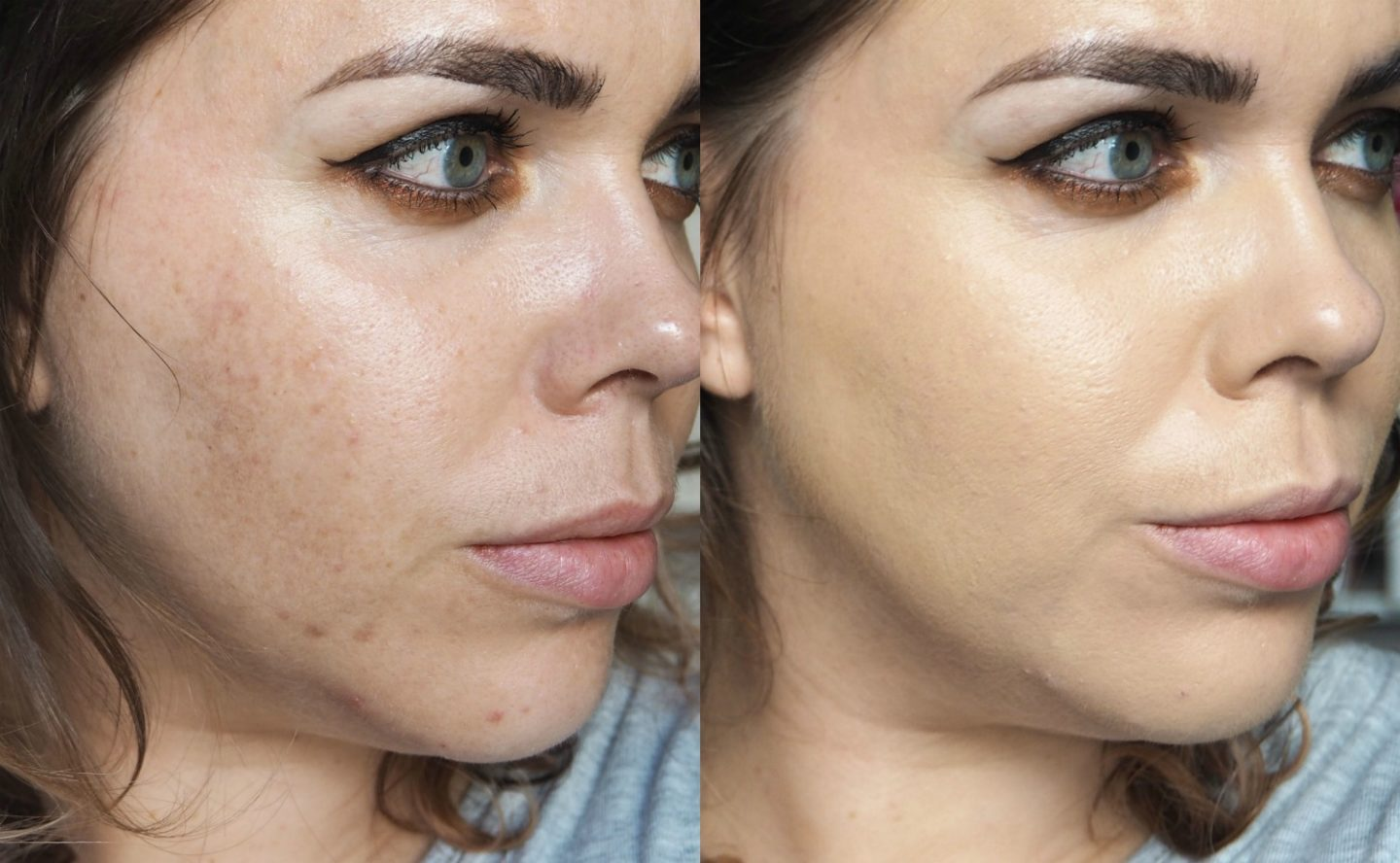 bare minerals before and after. left: bare skin right: bareminerals barepro liquid foundation / nothing else minerals before and after