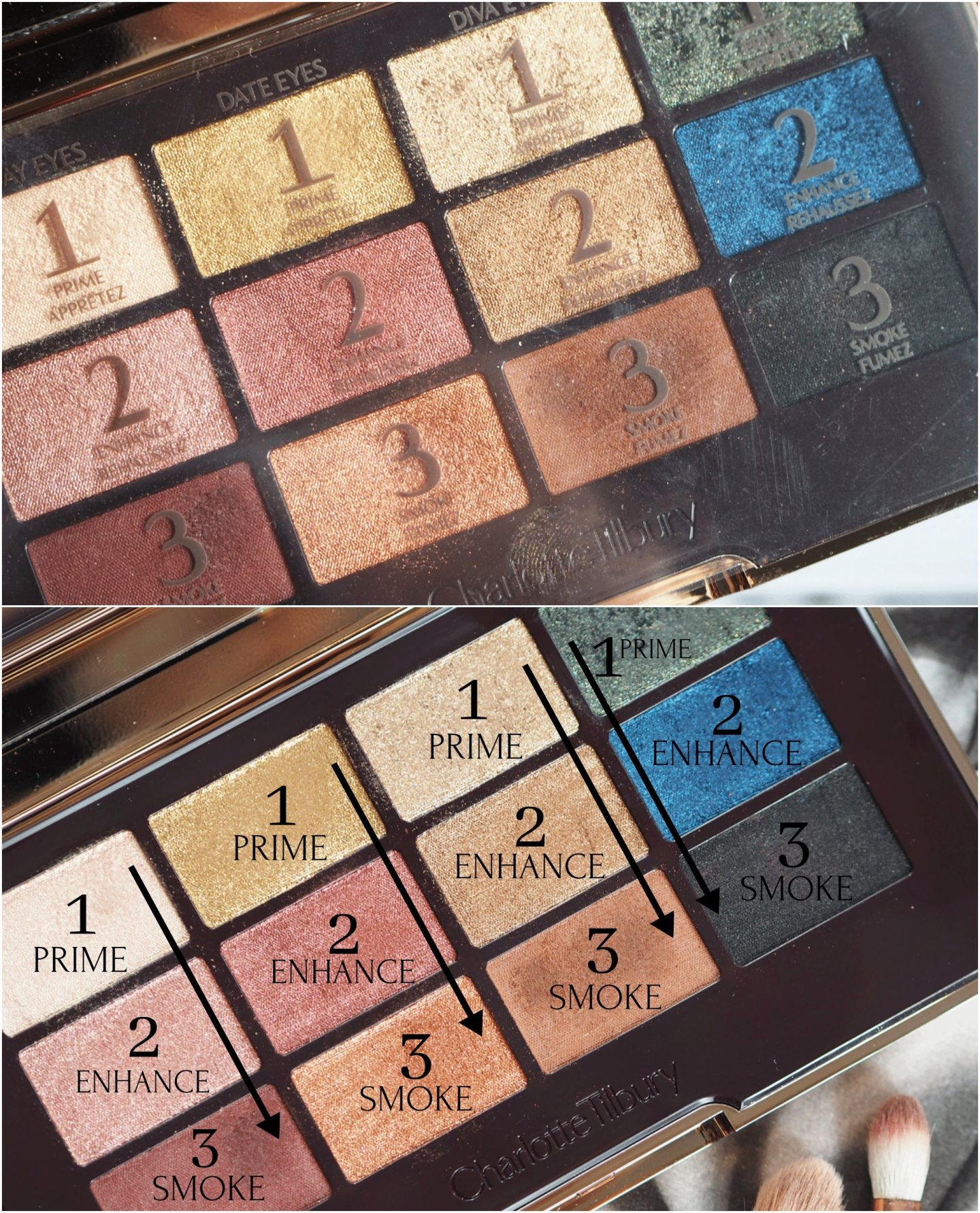 Charlotte Tilbury icons eyeshadow palette swatches and review