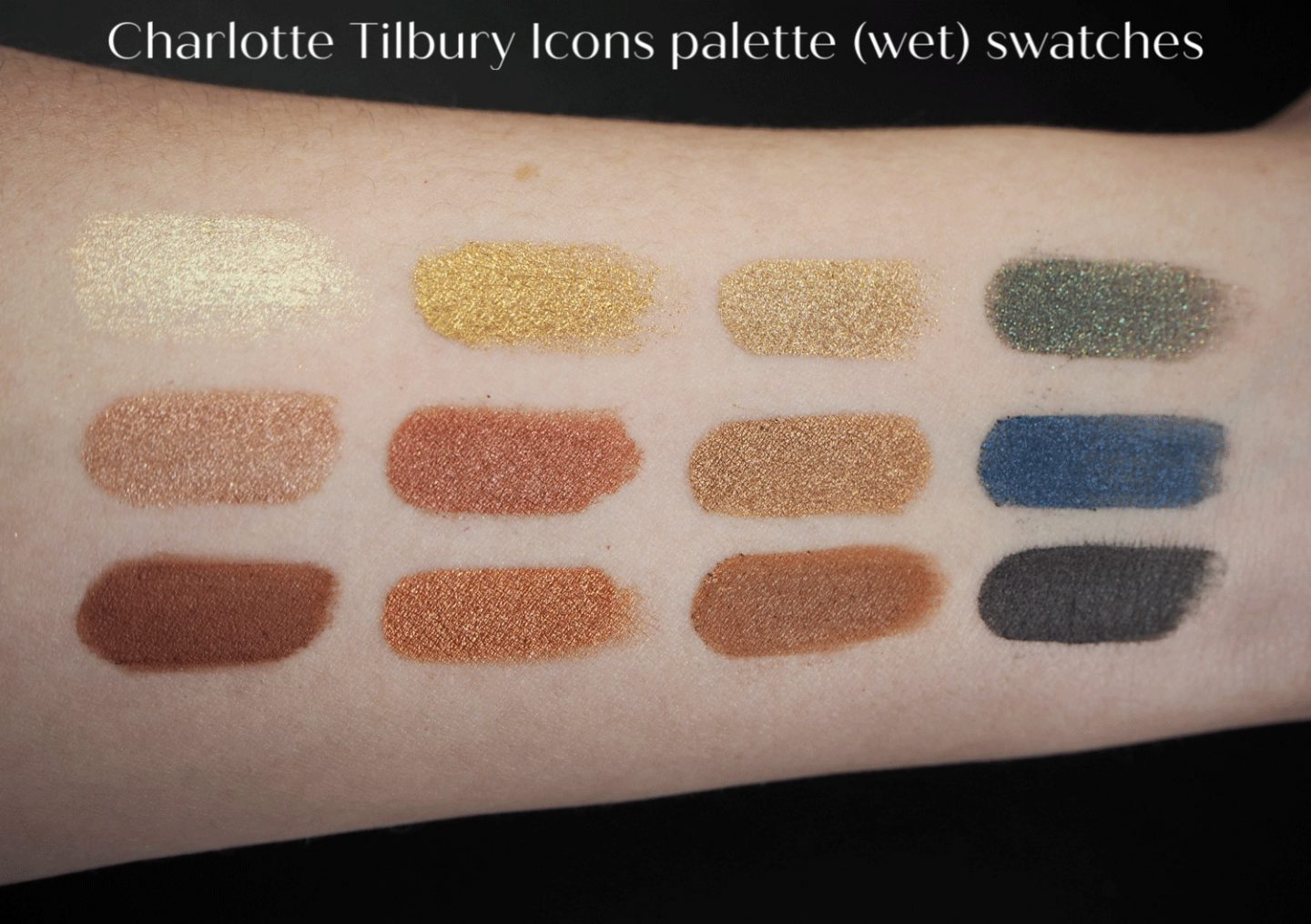 Charlotte Tilbury icons eyeshadow palette wet swatches