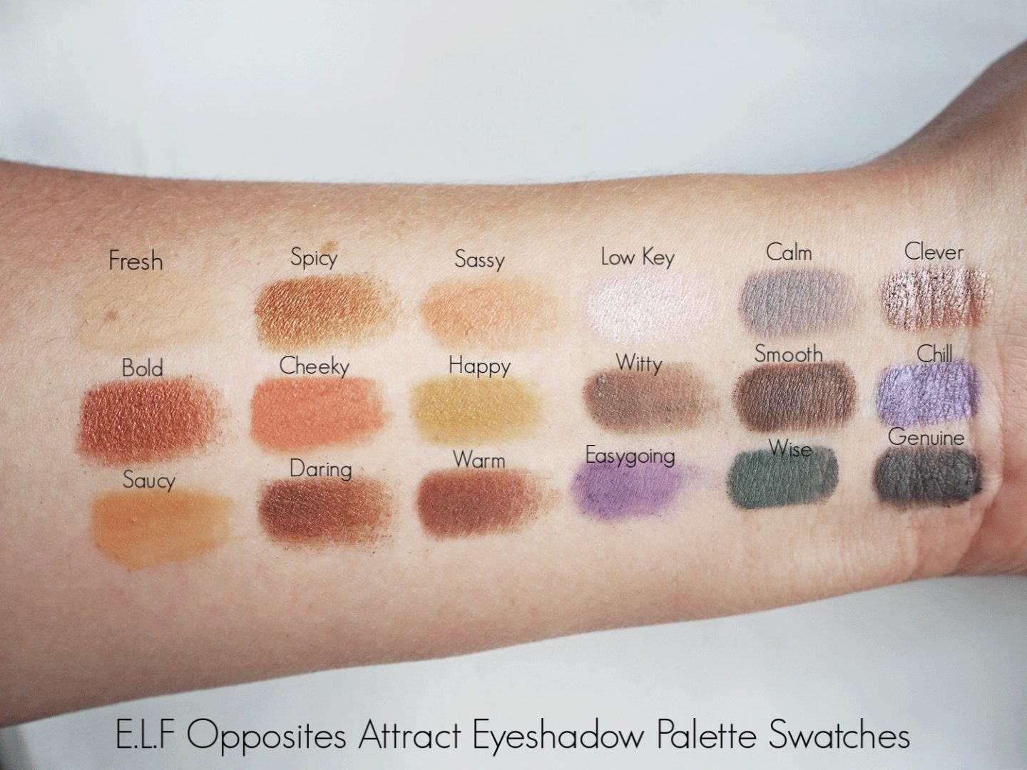 ELF opposites attract eyeshadow palette swatches