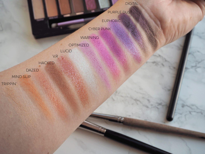 urban decay ultraviolet eyeshadow palette swatches
